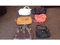 Womens ladies handbags hand bags £3 each.black, aubergine purple, tan, orange, white, animal print