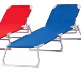 Blue Ikea Sunlounger Garden Chair Recliner