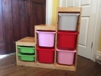 Ikea Trofast - pine toy storage unit with 7 boxes.