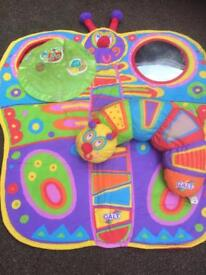 Baby activity mat with tummy time caterpillar