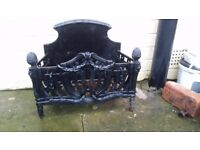 Beautiful old solid fire grate. Black. For use in fireplace or decorative piece