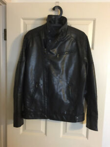 Brand New Calvin Klein Leather Motorcycle Jacket - Slim Fit