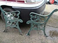 A PAIR OF GARDEN BENCH ENDS HEAVY METAL ONLY £20 FOR QUICK SALE