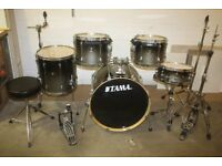 "Tama Superstar Custom Grey to Black Fade 5 Piece Drum Kit (22"" Bass) + Sabian B8 Cymbal Set"