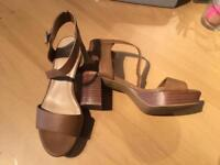 New look Tan platform sandals - teens/size 4