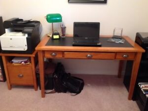 Solid Computer Desk with Printer Cabinet