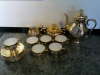 Vintage Bavaria Waldsassen Gold Lustre Coffee Set