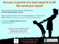 Parents of teens - fill out a survey and enter a draw for $100!