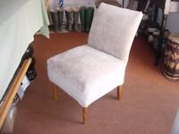 Bedroom chair, soft and comfy, pale mushroom velvety fabric