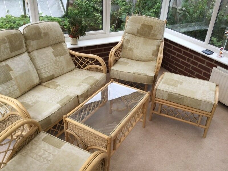 Conservatory furniture suite (cane with light fabricin Lymm, CheshireGumtree - Conservatory furniture suite, includes;1 x Two seater settee2 x chairs 1 x table1 x foot stool All cushions have fire proof labels from new Cane, with light fabric cushionsUnmarked In excellent overall used condition.Buyer to collect, cash on...