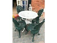 Cast metal (aluminium) garden table and chairs