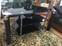 Black Glass Tv Table, Tv Stand, Tv trolley for sale