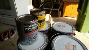Lots of paints,new pail, cans , ..