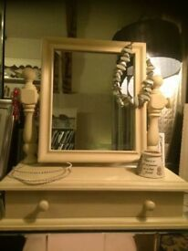 Cream solid chunky wood mirror with 1 drawer for sitting on dressing table
