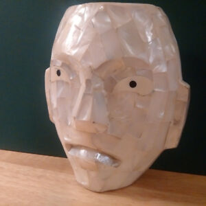 Handcarved Mask, Made from real shells.