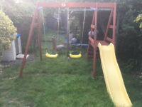 Plum swing and slide