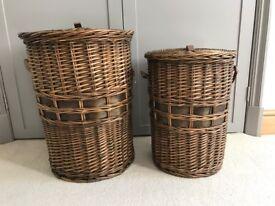 2 Wicker Laundry Baskets