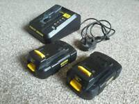 Stanley fatmax 18v charger and 2 batteries