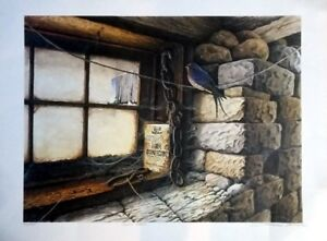 Barn interior with Barn Swallow - numbered and signed print