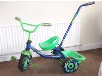 Kids Push along or Pedal Trike Blue/Green - £5