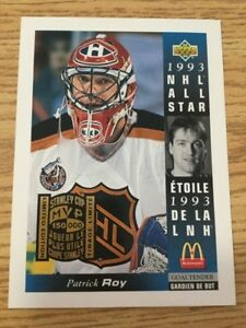 Patrick Roy - 1993 McDonalds Jumbo Card