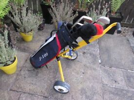 Junoir Golf Bag, Golf Trolley, 7 x Golf Clubs and Accessories
