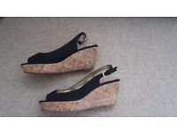 Peep toe sling back black wedges size 6 1/2
