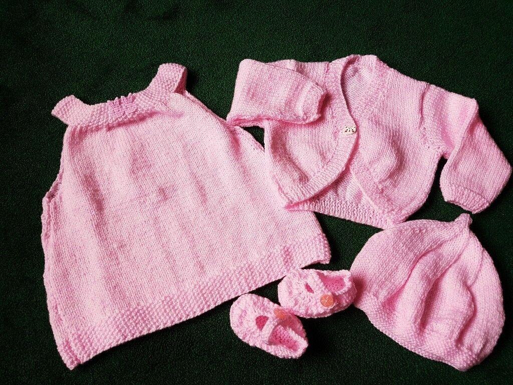 Beautiful Hand Knitted Baby Girls Set - 0-3mths