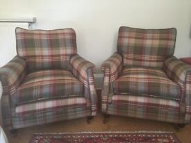 Immaculate Mulberry Fabric Armchairs x2