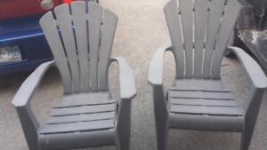 2 Grey Adirondack Chairs