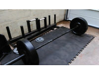 Free weights home gym set up: olympic bar, squat rack etc.