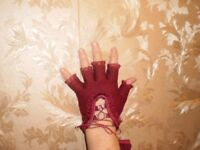 Gloves Maroon Colour Cloth Kashmir Size:7 New With Tags