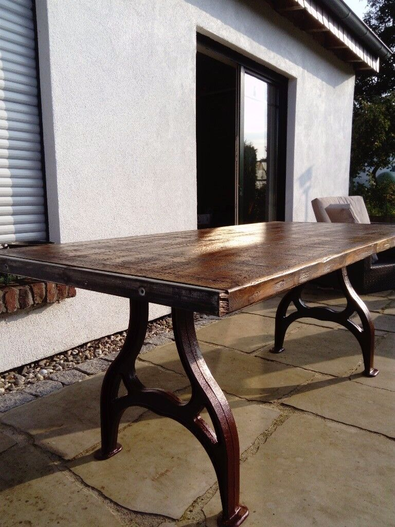 Industrial table reclaimed factory pine boards