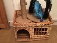 Cat bed/basket bundle with scratcher and tunnel etc