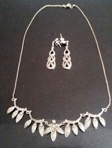 """16"""" ART DECO STERLING SILVER NECKLACE W. MARCASITE STONES"""