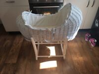 Cream and white wicker Moses basket with rocking stand