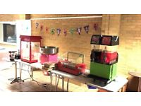 Popcorn slush candy floss chocolate fountain candy cart bouncy castle party outdoor fun event £50