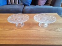 Pair of Glass Cake Stands, 9 inch Diameter
