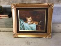 Original Oil On Board Painting Of Kitten Signed H King In Gilt Frame