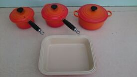 3 Le Creuset Pans and Pie Dish in Volcanic