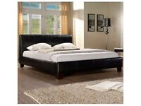 SAME DAY DELIVERY -- Brand New Kingsize Leather Bed with 12inch Extrafirm Spine Corrective Mattress