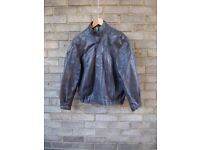 """St MICHAEL GREY LEATHER BOMBER STYLE JACKET 38"""" CHEST. RAGLAN SLEEVES."""