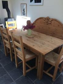 Large Solid Pine Table Chair and Bench Set