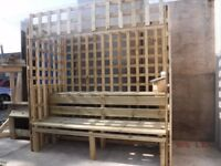 A Boyd and son fencing's-Sheltered Bench's includes a see through roof and trellis sides and rare