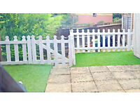 White Picket fence with gate and 5 posts