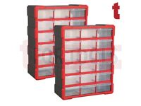 Set of 2 Sealey APDC18R Cabinet Box 18 Drawer - Red/Black