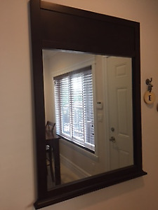 Wooden mirror - dark brown
