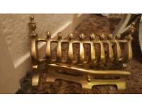Solid brass front fire grate with finials