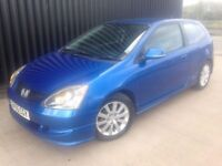 2005 (55) Honda Civic 1.6 i-VTEC Sport Hatchback 3dr 12 Months MOT 28 Days Warranty, May Px