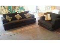 Brown fabric 3 seater sofa and armchair
